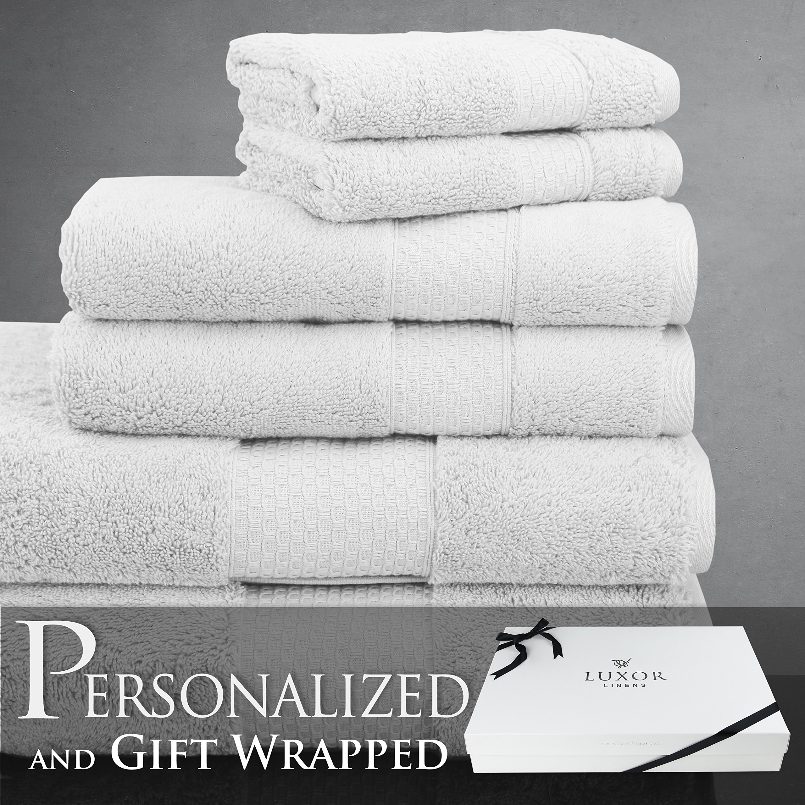 Luxor Linens - 6-Piece Bath Towel Set - Mariabella Collection - Luxurious Super Soft & Fade Resistant 100% Turkish Cotton -Available in Various Colors & 7 Different Embroidery Styles