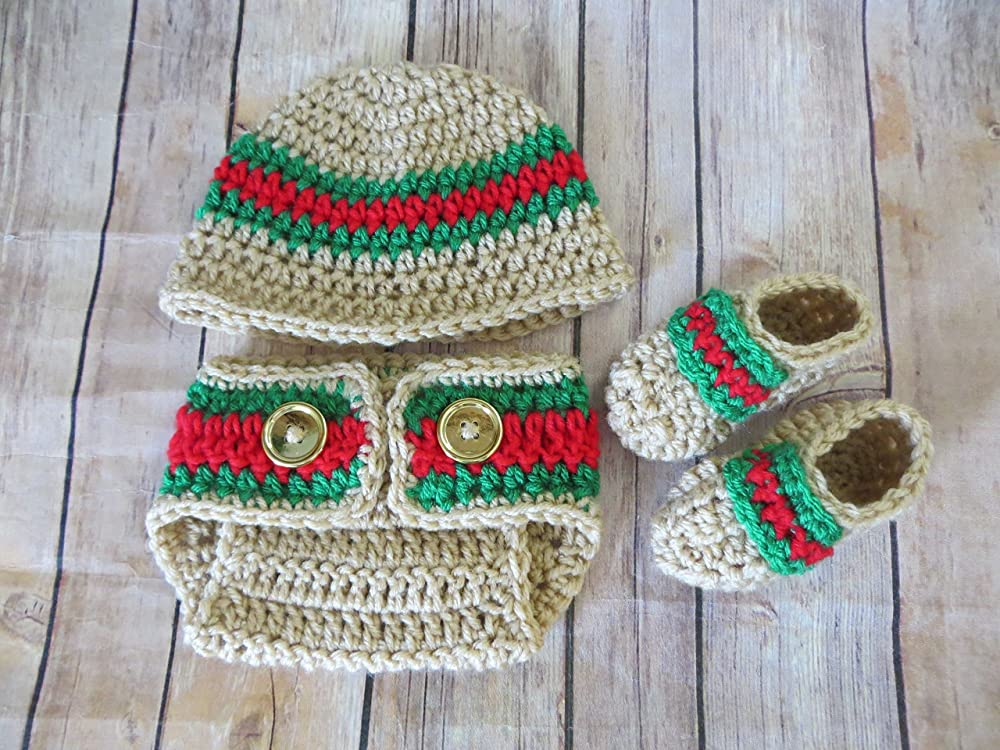 Handmade Crochet Baby Boy Sweater,Hat Diaper Cover Bootie Set  Newborn 6 Months