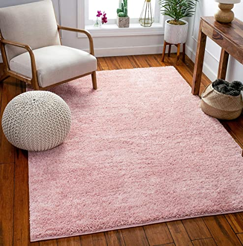 Well Woven Madison Shag Piper Pink Solid Thick 5'3″ x 7'3″ Area Rug