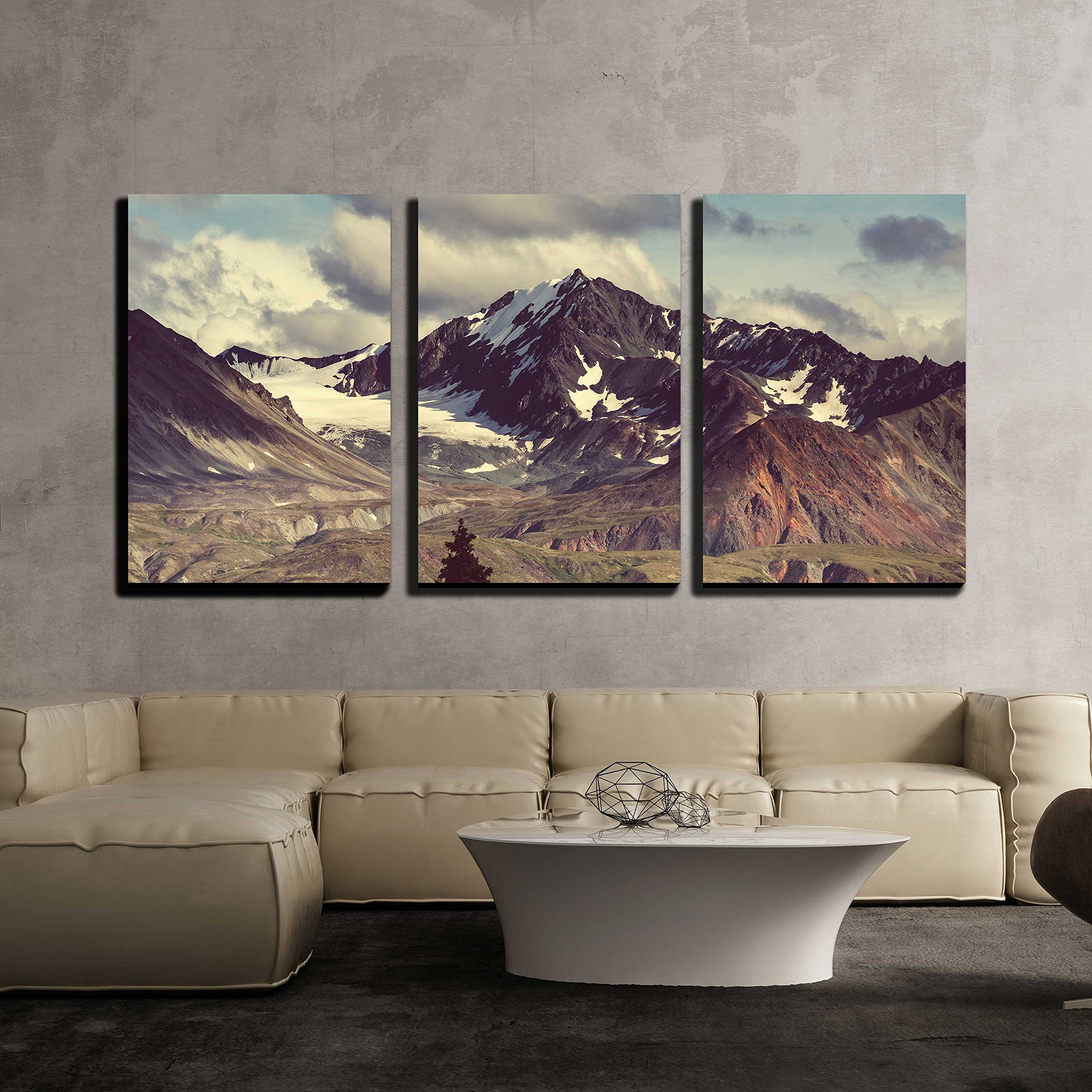 wall26 - 3 Piece Canvas Wall Art - Mountains in Alaska - Modern Home Decor Stretched and Framed Ready to Hang - 24''x36''x3 Panels by wall26