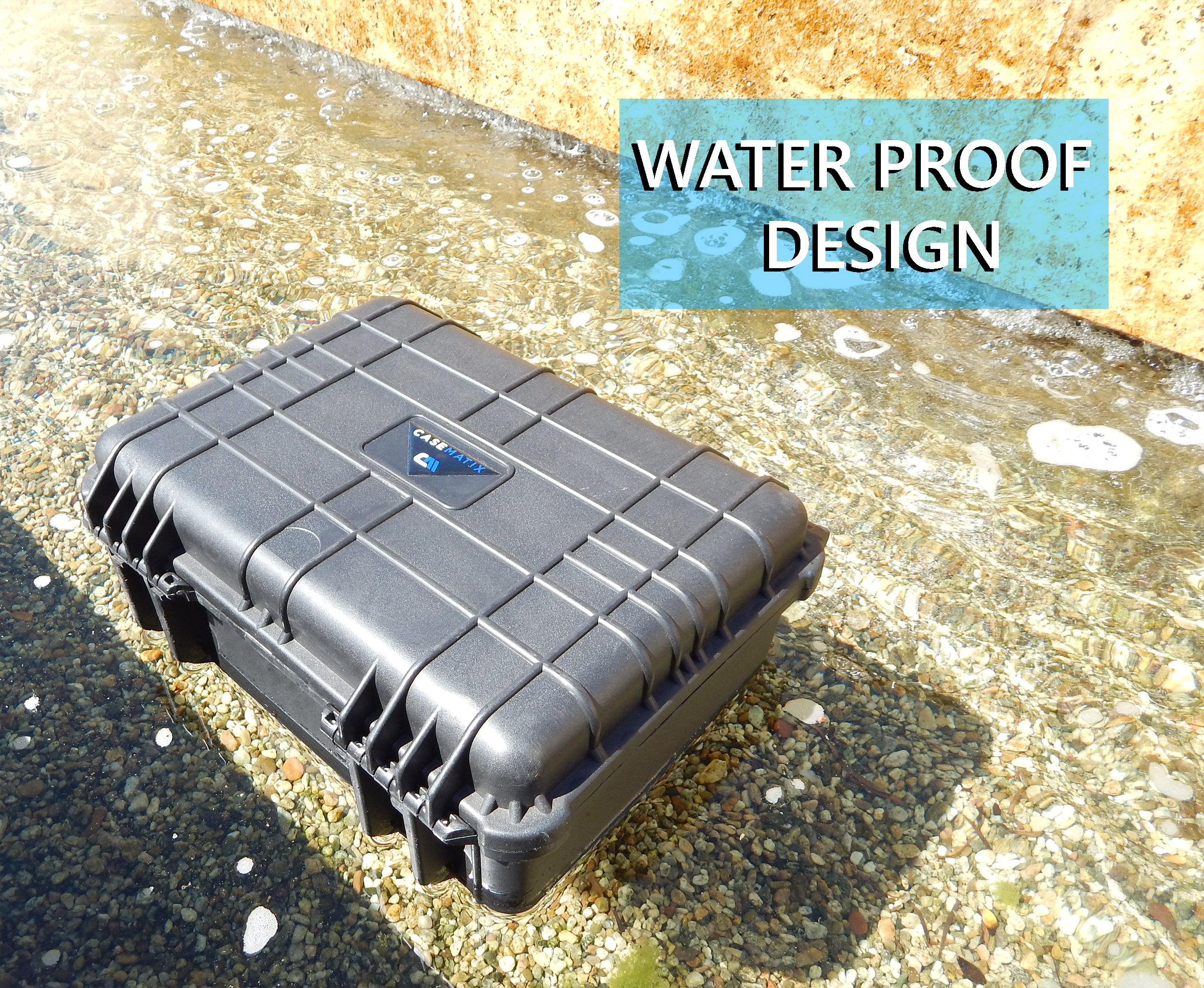 CASEMATIX Waterproof Projector Travel Case For DBPOWER T22 HD Video Projector 2400 Lumens , Remote , HDMI Cable , AV Cable , Power Supply and Accessories by CASEMATIX (Image #2)