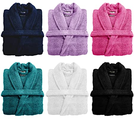 Spa Collection Home Mens and Ladies 100% Cotton 550GSM Terry Towelling  Adults Shawl Collar Bathrobe 5f0974de3