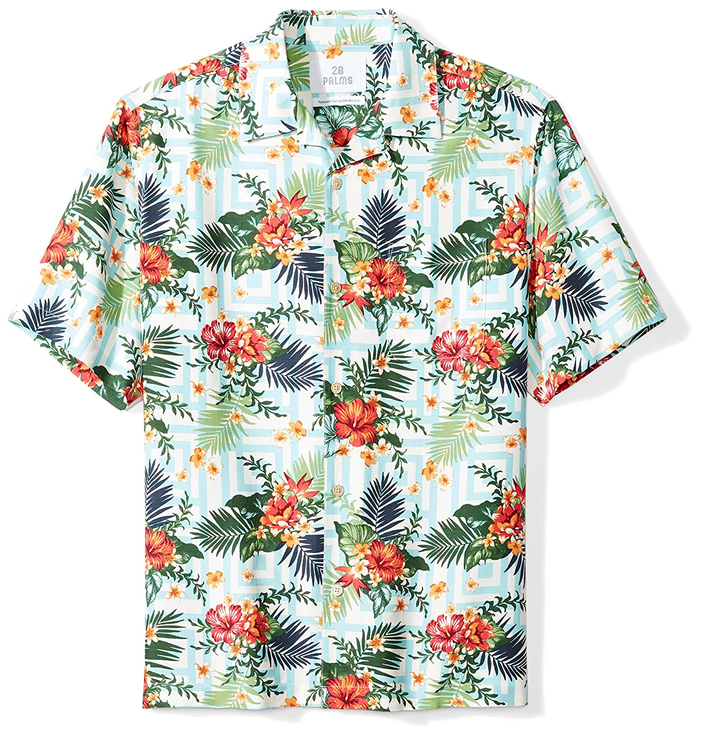 28 Palms Mens Standard Relaxed-fit 100% Silk Hawaiian Shirt MPM25001