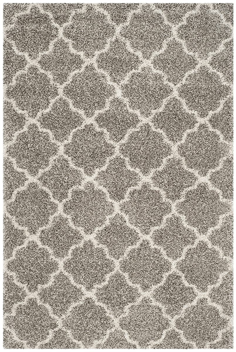 Safavieh Hudson Shag Collection SGH282B Grey and Ivory Moroccan Geometric Quatrefoil Area Rug (4 x 6)