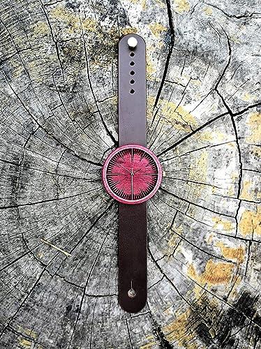 Purplehearth wood wrist watch
