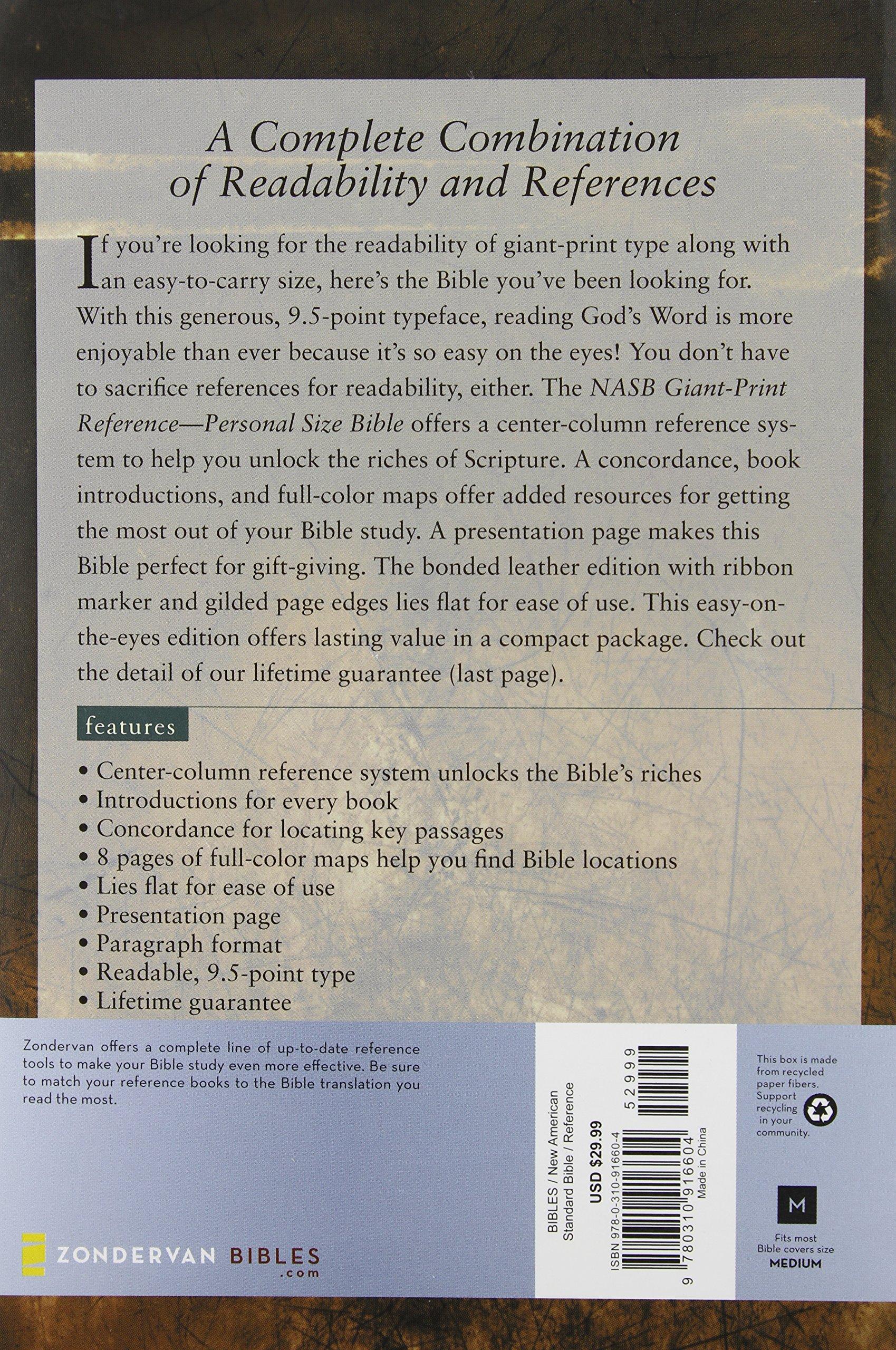 nasb giant print reference bible personal size zondervan