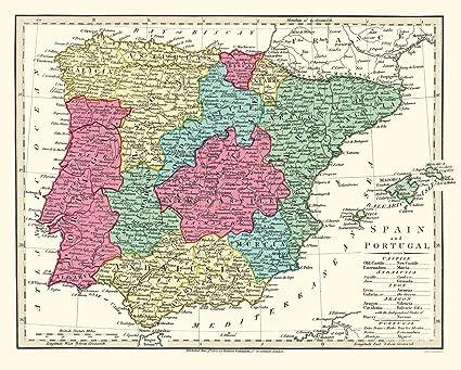 Amazon.com: Old Iberian Peninsula Map - Spain and Portugal ...