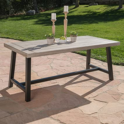 cassie outdoor light grey sandblast finish acacia wood dining table with black rustic metal finish frame