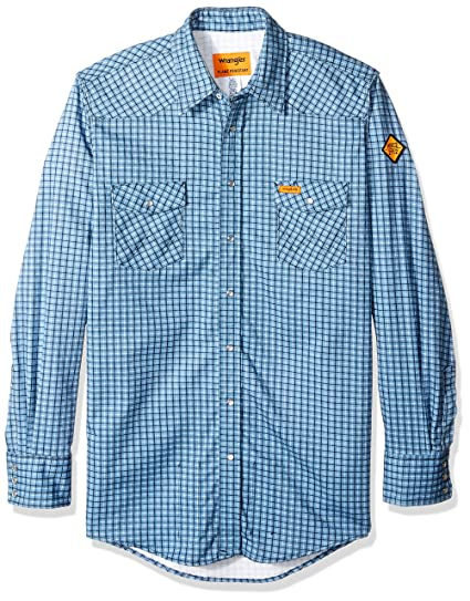 cb155664053 Wrangler Men s Tall Big   Tall Flame Resistant Western Two Pocket Snap Shirt