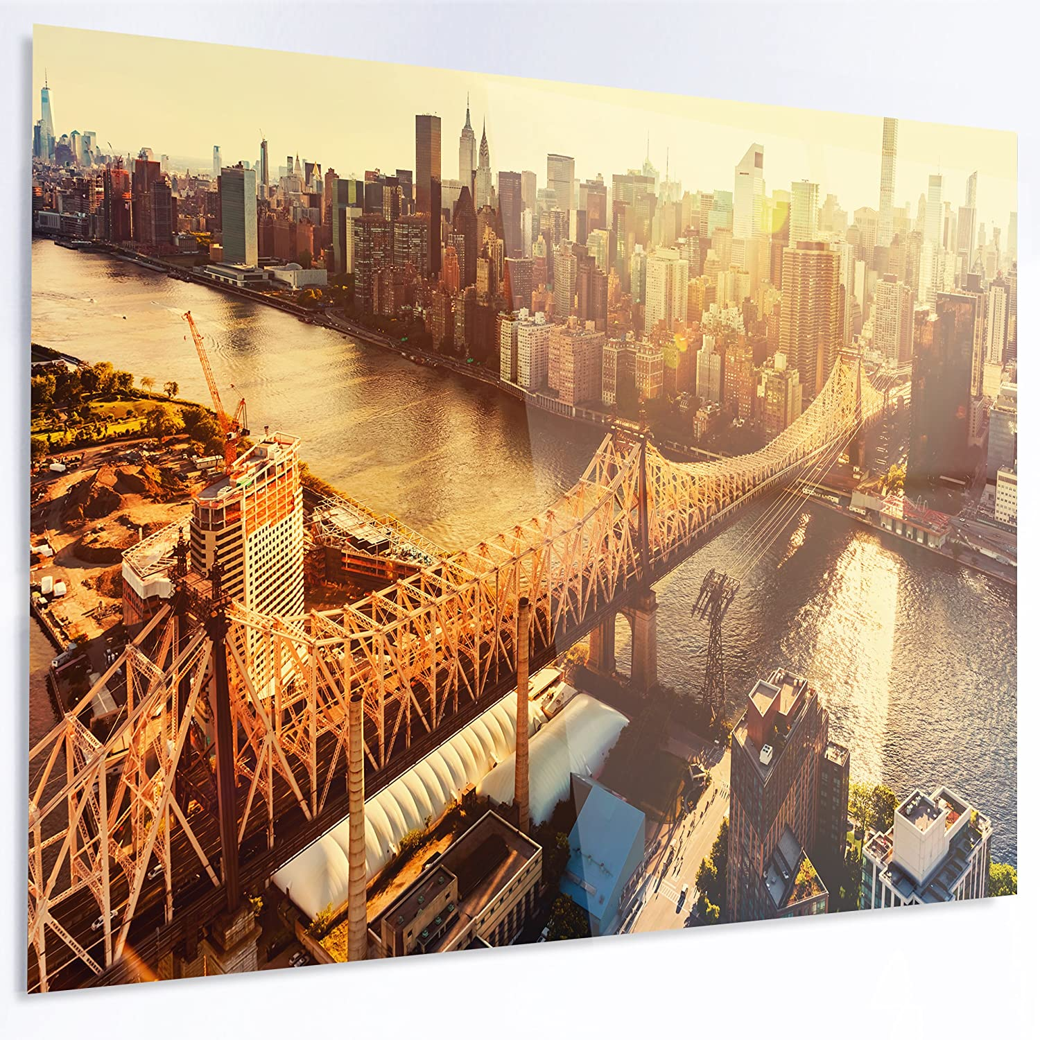 Designart MT14017-628 Queensboro Bridge Over East River Large Cityscape Glossy Metal Wall Art, Yellow, 70x28'
