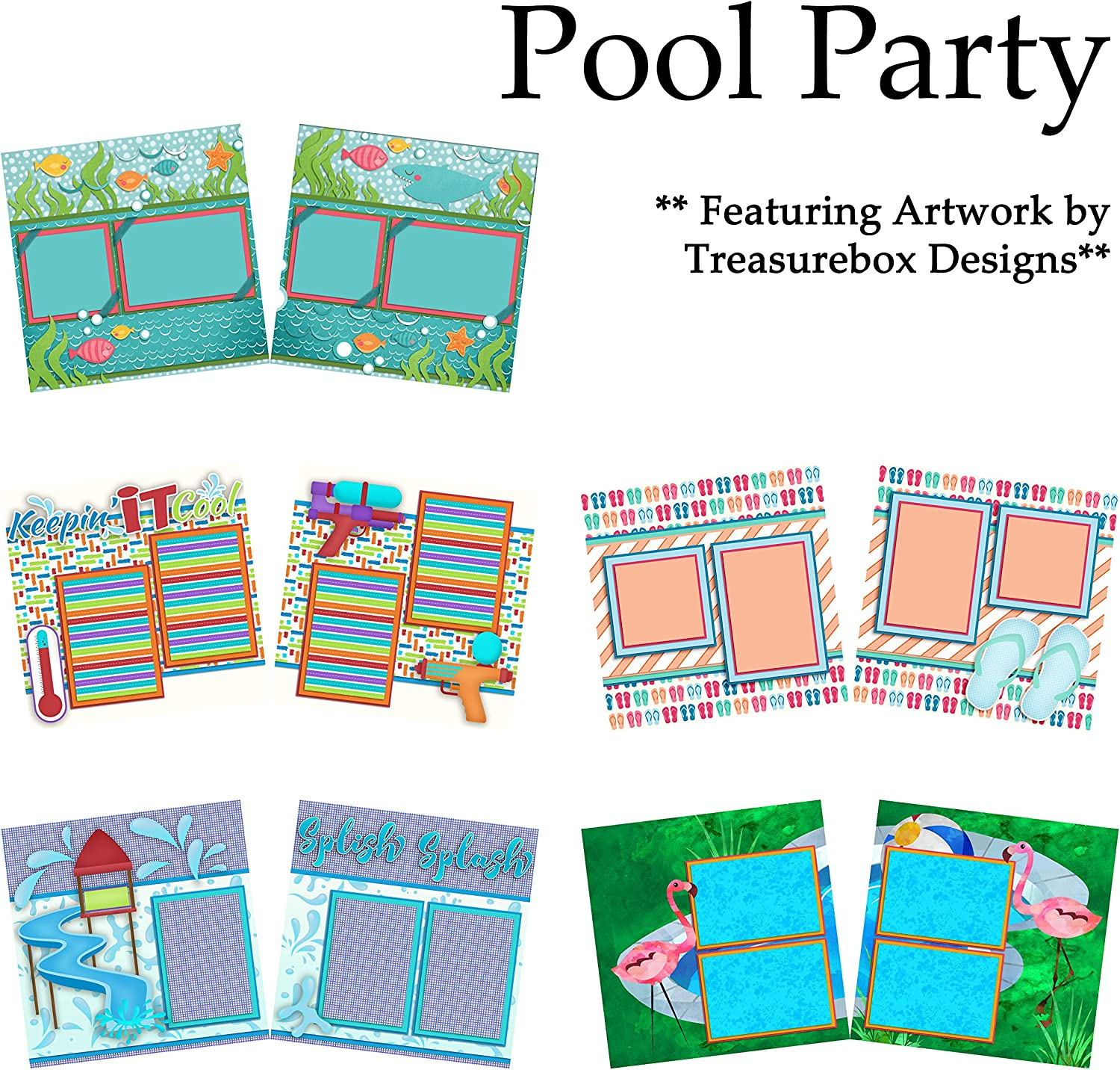 POOL PARTY Scrapbook Set 5 Double Page Layouts