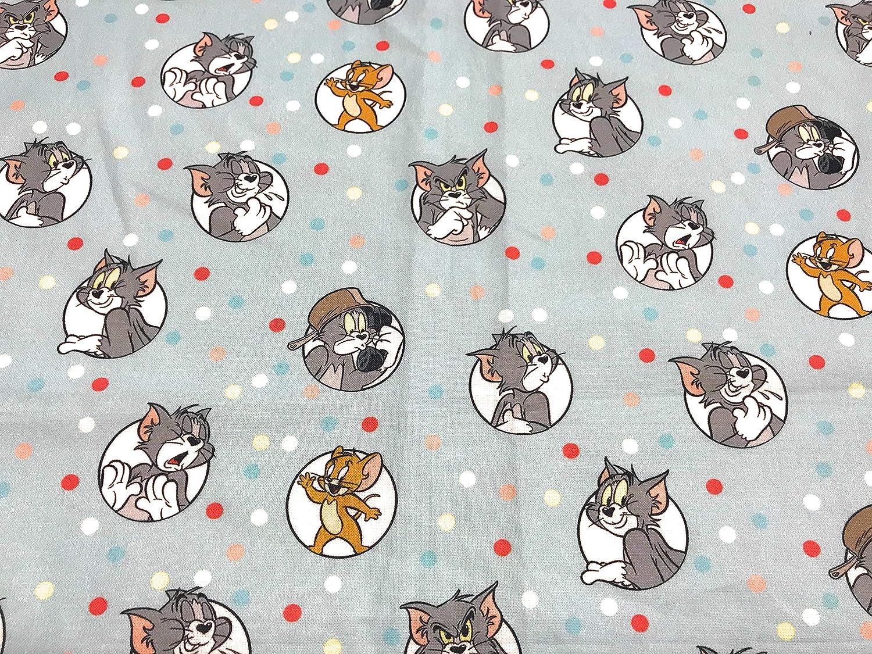1 Metro de algodón popelín con gatos blanco sobre fondo gris medio