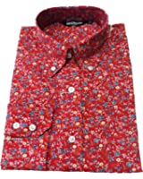 Shirt Floral Men's Red White Blue Classic Mod Vintage Design