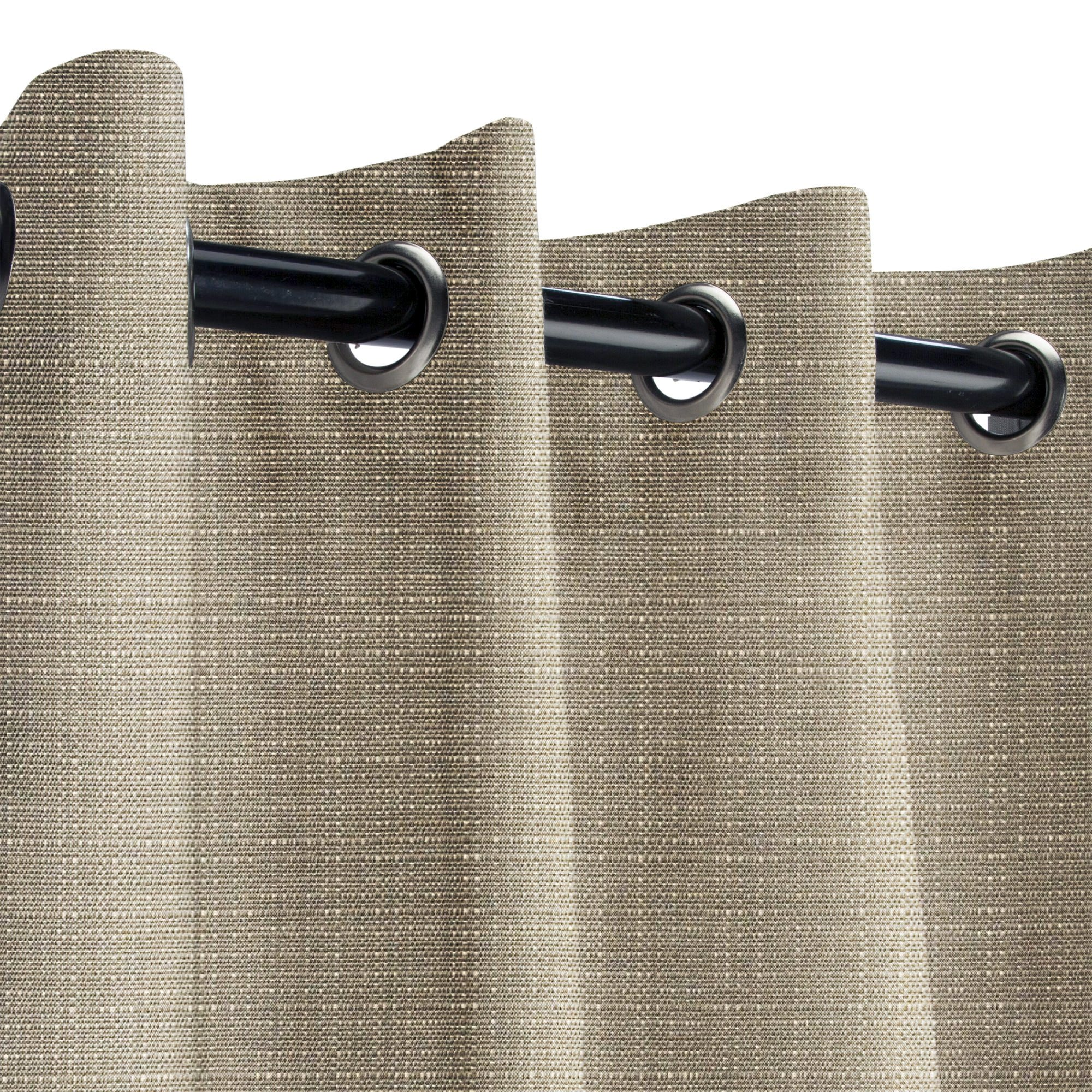 Sunbrella Linen Taupe Outdoor Curtain with Nickel Grommets 50 in. Wide x 108 in. Long