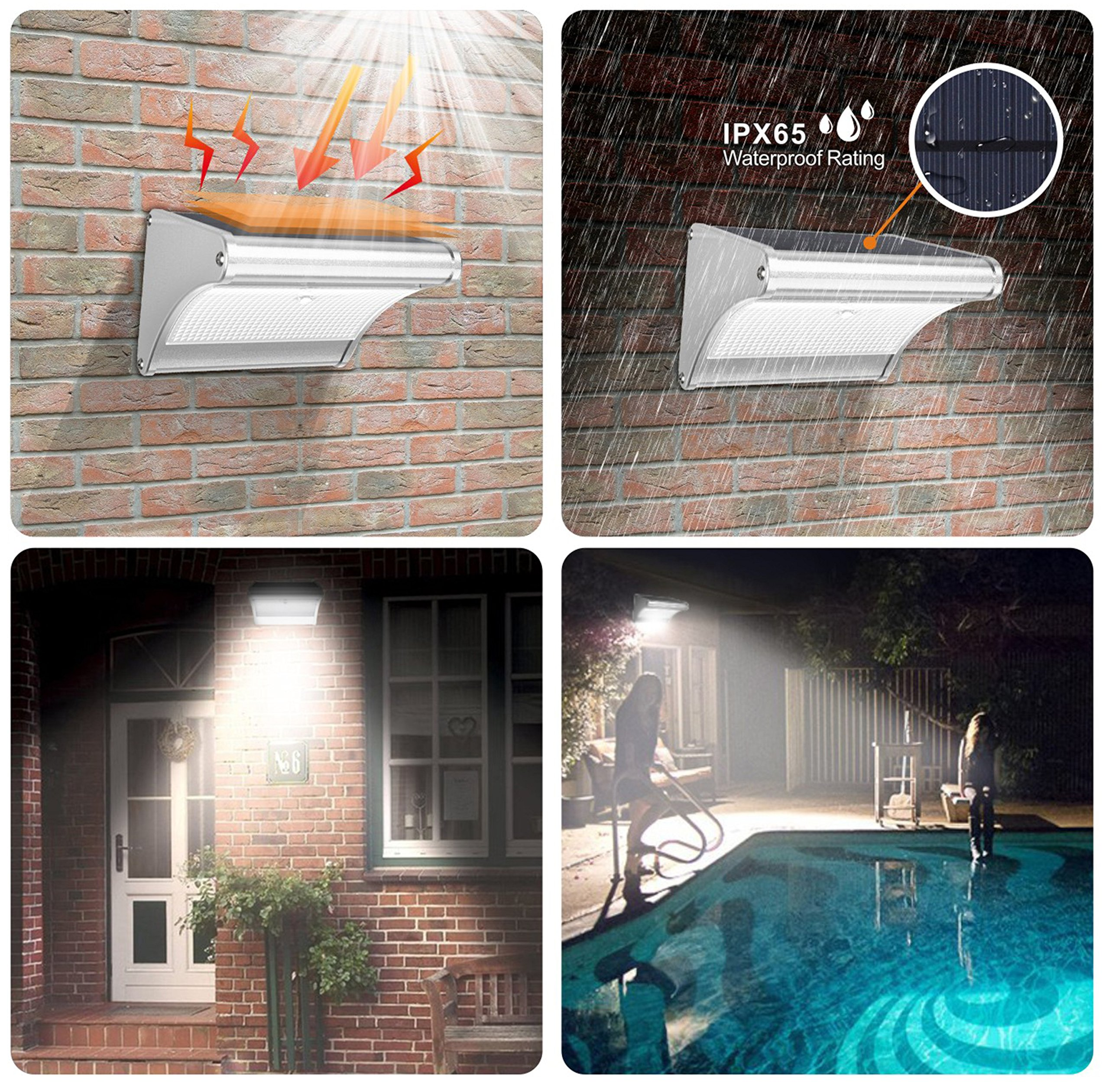 Solar Lights Outdoor Motion Sensor Garden Patio Super Bright Lighting Wireless Radar Activated Powered Aluminum Alloy 24 LED Security Waterproof Wall Landscape Fence Yard Path Driveway Garage Porch