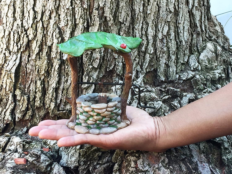 ein Feengarten Accessoire Miniatur Wunschbrunnen mit beweglichen Griff und Wassereimer f/ür Gartenzwerge