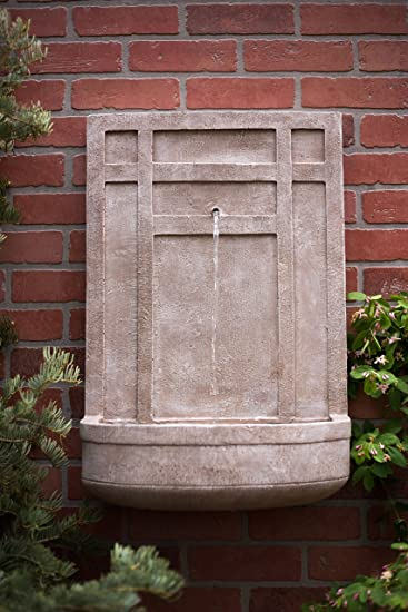 The Sicily   Outdoor Wall Fountain In Parchment Beige   Water Feature For  Outdoor Living Space