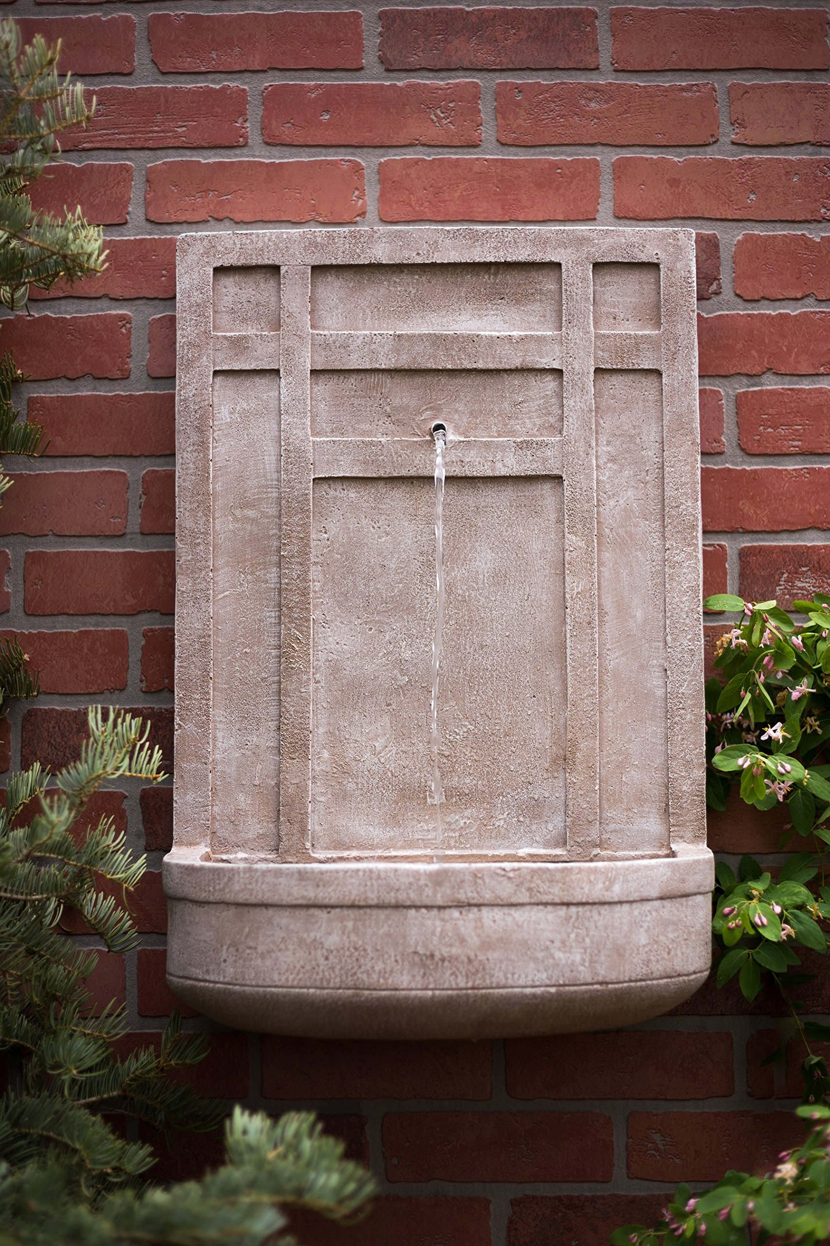 The Sicily - Outdoor Wall Fountain in Parchment Beige - Water Feature for Outdoor Living Space and Garden Enhancement