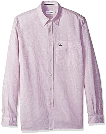 e0321ed262e564 Lacoste Men s Long Sleeve Button Down Stripe Collar Regular Fit Woven Shirt