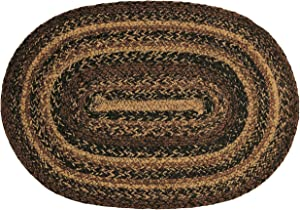 """V0310-IHF Home Decor Oval Braided Rug Cappuccino Design Black, Cream, Tan Hand Woven Collection Natural Jute Fiber 20""""x30"""" to 8'x10' (22""""x72"""")"""
