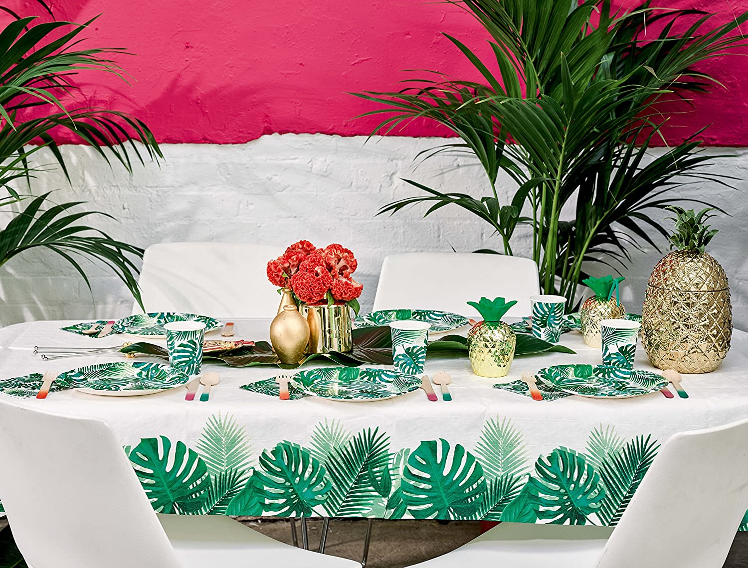 Paper Tablecloth Party Table Covers Disposable Table Cloths Party Decorations Party Supplies Paper Table Cloths for Parties Beach Party Hawaiian Theme Luau Party Palms 47 x 70