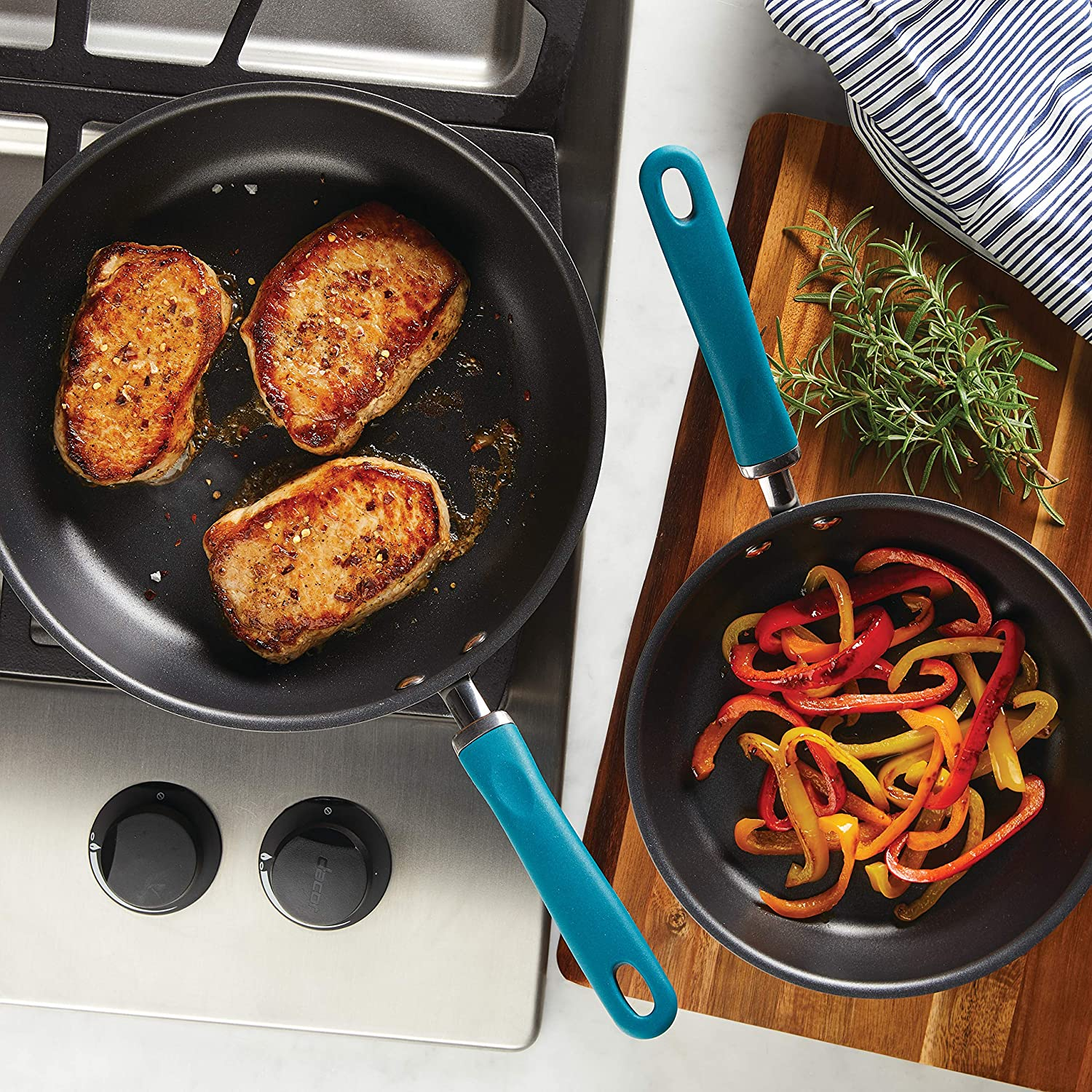 Rachael Ray 81127 Twin Pack Hard Anodized Aluminum Skillet Set, 2 Piece, Gray with Teal Handles
