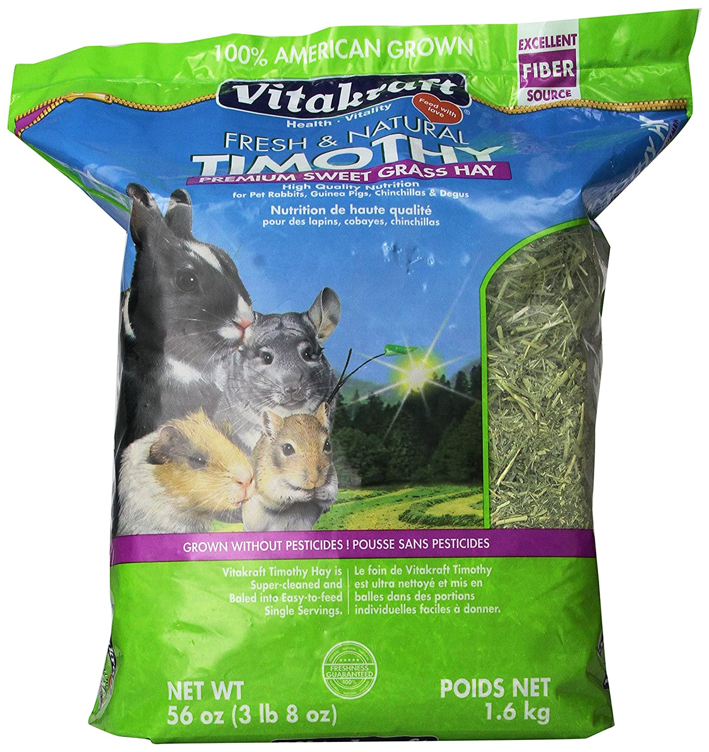 56-Ounce Vitakraft Timothy Hay, Premium Sweet Grass Hay, 100-Percent American Grown, 56-Ounce Resealable Bag