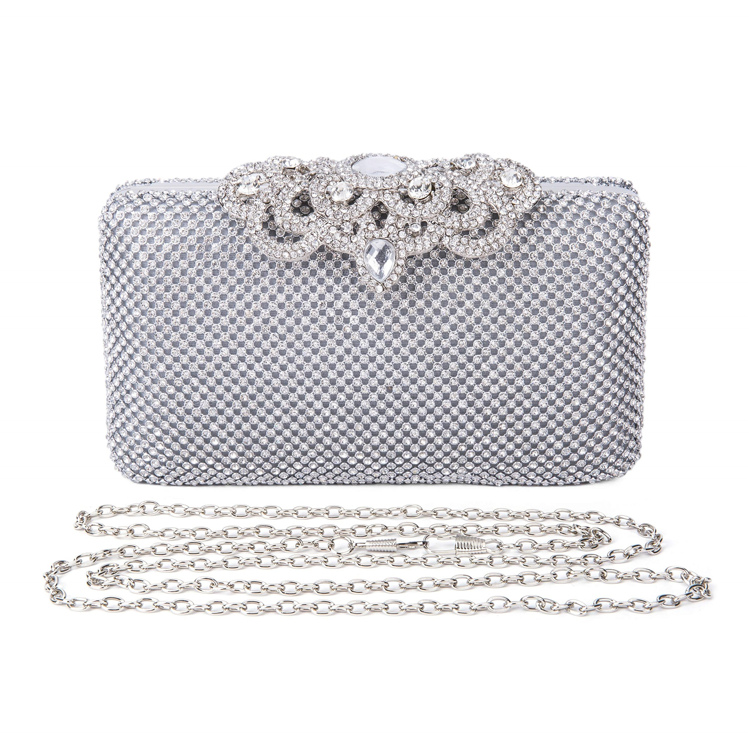 2017 Fashion Crystal Bag Clutch Purse Luxury Rhinestone Evening Bag Jewelry Handbag (Silver)