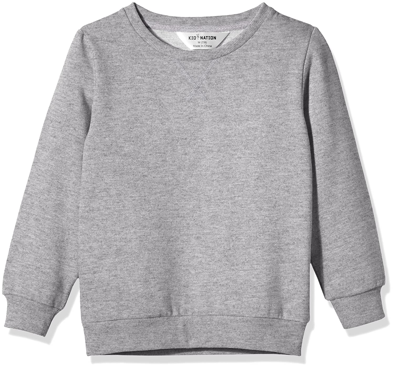 Kid Nation Kids Slouchy Solid Brushed Fleece Sweatshirt for Boys or Girls
