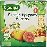 Blédina 100% Fruits Pommes Goyaves Ananas en Coupelle dès 8 Mois 4x100g - Lot de 6