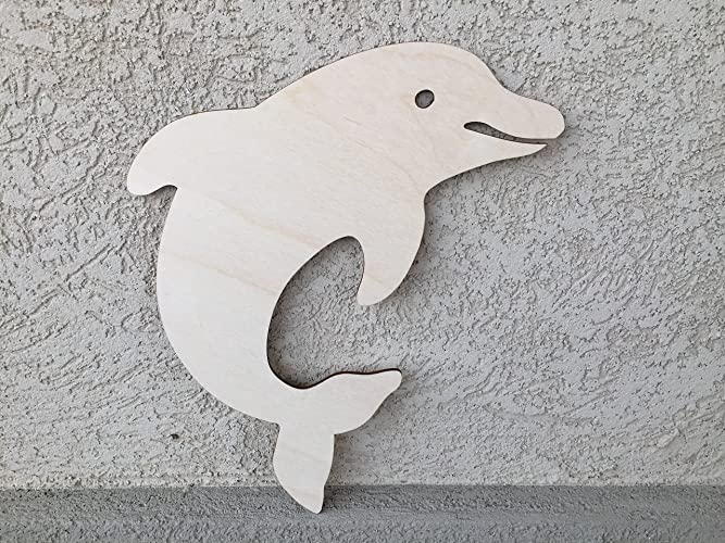 Paintable Wooden Dolphin For Bedroom Decor, 11x8 Inches