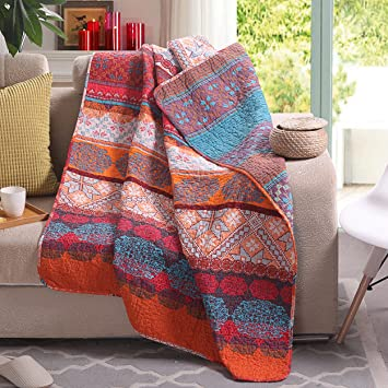 Boho Throw Blankets Cool Amazon Luxury Reversible 60% Cotton Exotic Boho Stripe Quilted