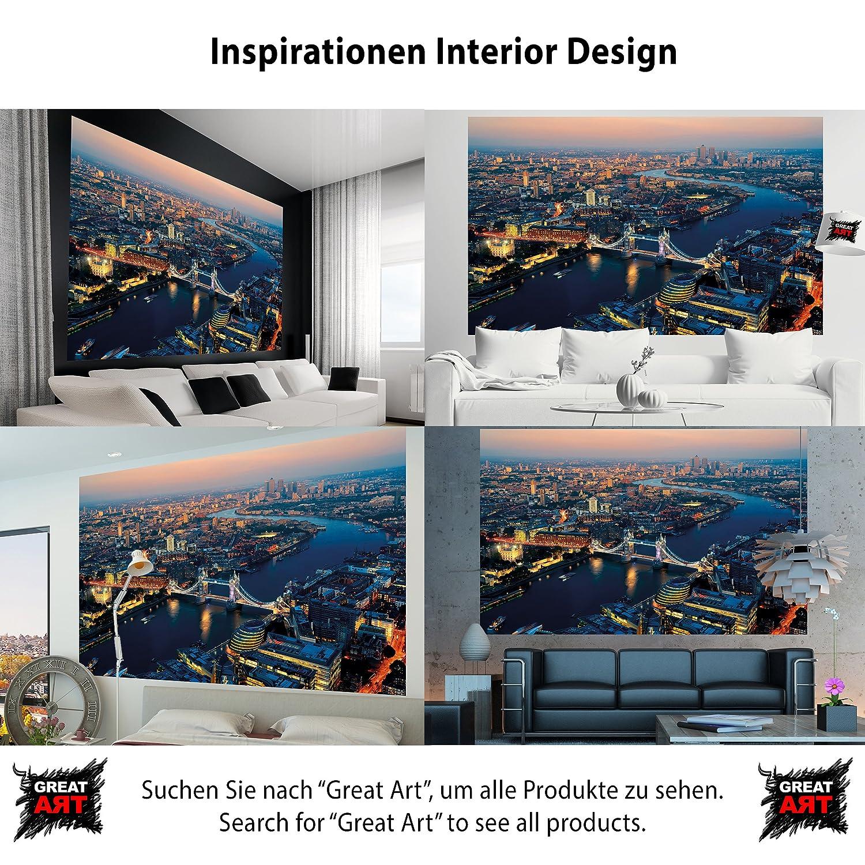 Foto tapiz puente de tower en la decoración imagen mural de la puesta del sol del horizonte de Londres Gran Bretaña UK Reino Unido I foto-mural foto póster ...