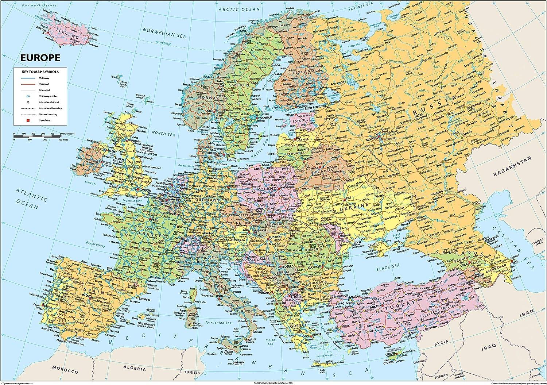 Carte hhysique de lEurope - Papier plastifié - A2: Amazon.es ...
