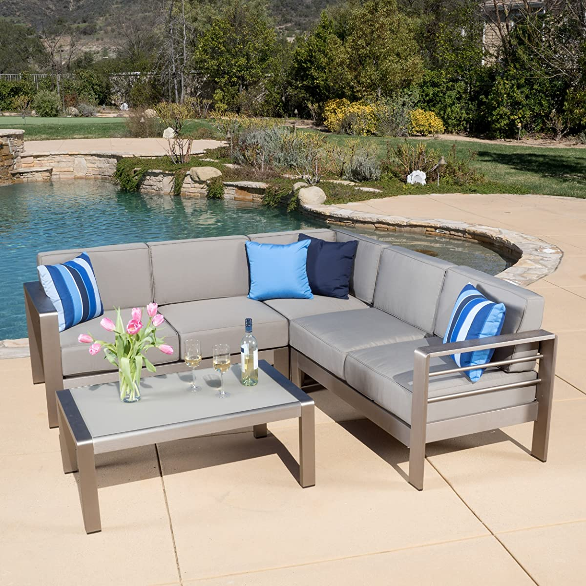 Christopher Knight Home 296671 Denise Austin Sonora Outdoor Aluminum 4-Piece Sofa Set with Cushions, Silver