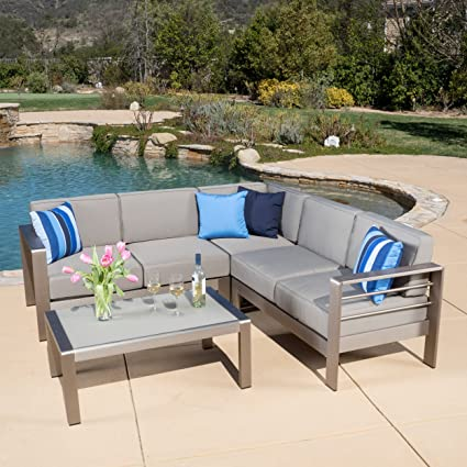 Christopher Knight Home 296671 Denise Austin Sonora Outdoor Aluminum  4 Piece Sofa Set With Cushions
