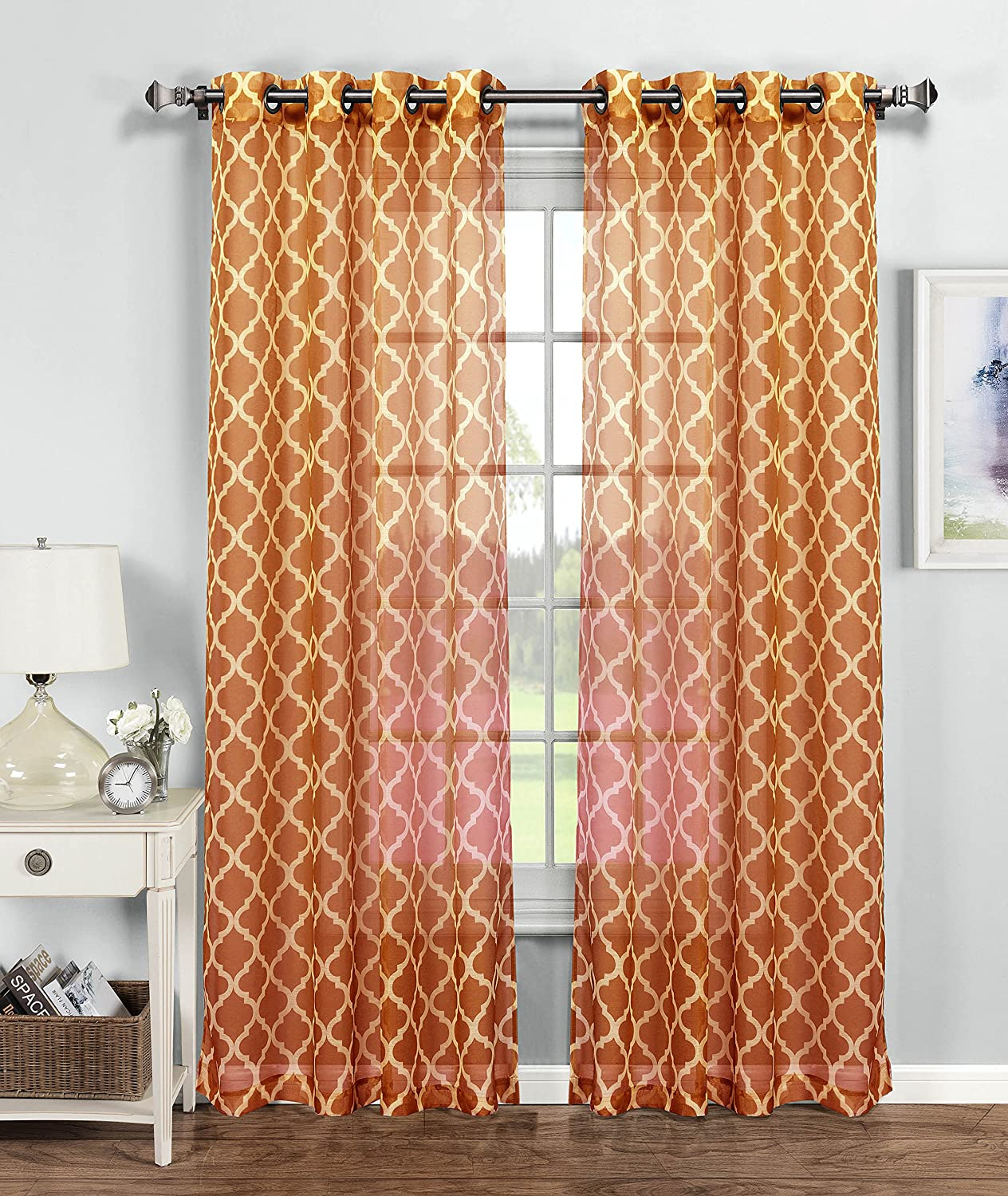 Window Elements Quatrefoil Printed Sheer Extra Wide 54 x 84 in. Grommet Curtain Panel, Orange