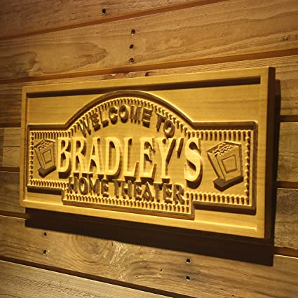 AdvPro Wood Custom Wpa0058 Name Personalized Home Theater Cinema Ticket Home  Decoration Beer Bar Décor 3D