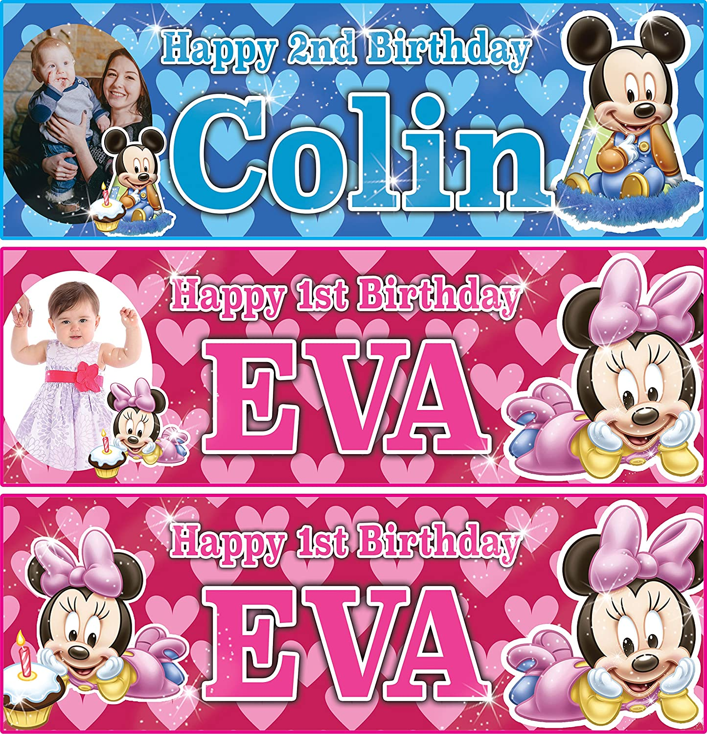Minnie Mouse Personalised Childrens Birthday Banner.