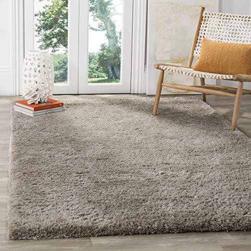 Safavieh Sheep Shag Collection SSG120A Handmade Silver Area Rug 6' x 9'