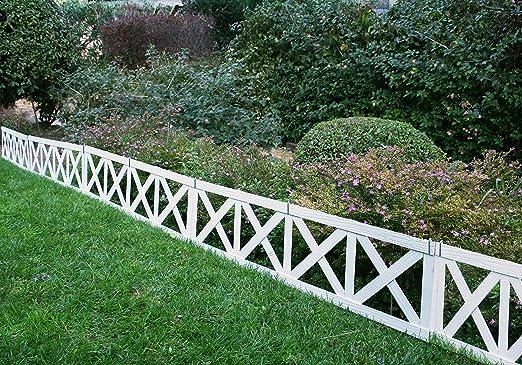 Mini valla/bordura BRISTOL en madera composite. Total piezas: 3 m. Color blanco: Amazon.es: Jardín