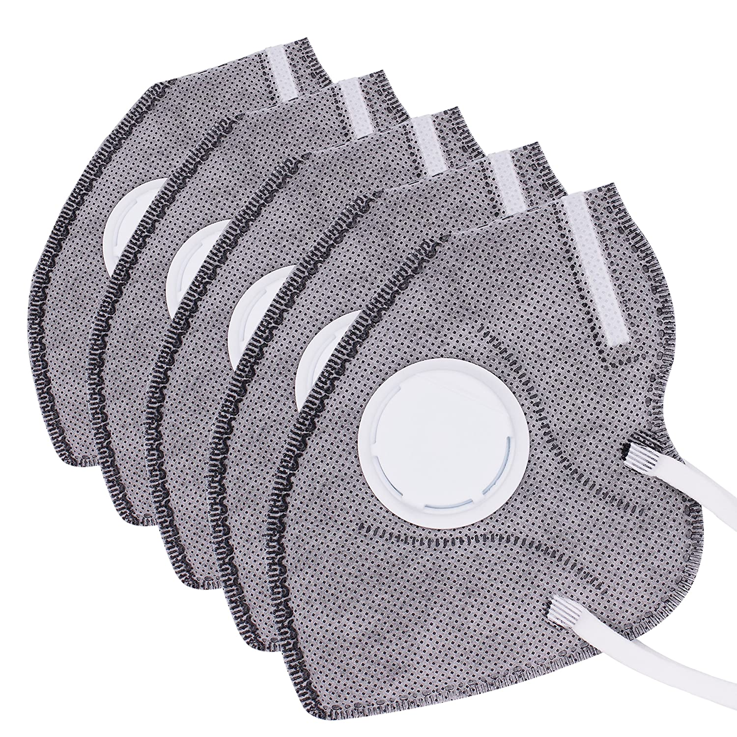 Muryobao Mouth Mask Anti Pollution Mask Unisex Outdoor Protection N95 4 Layer Filter Insert Anti Dust Mask with Valve Filter kouzhao-4 PACK-Grey