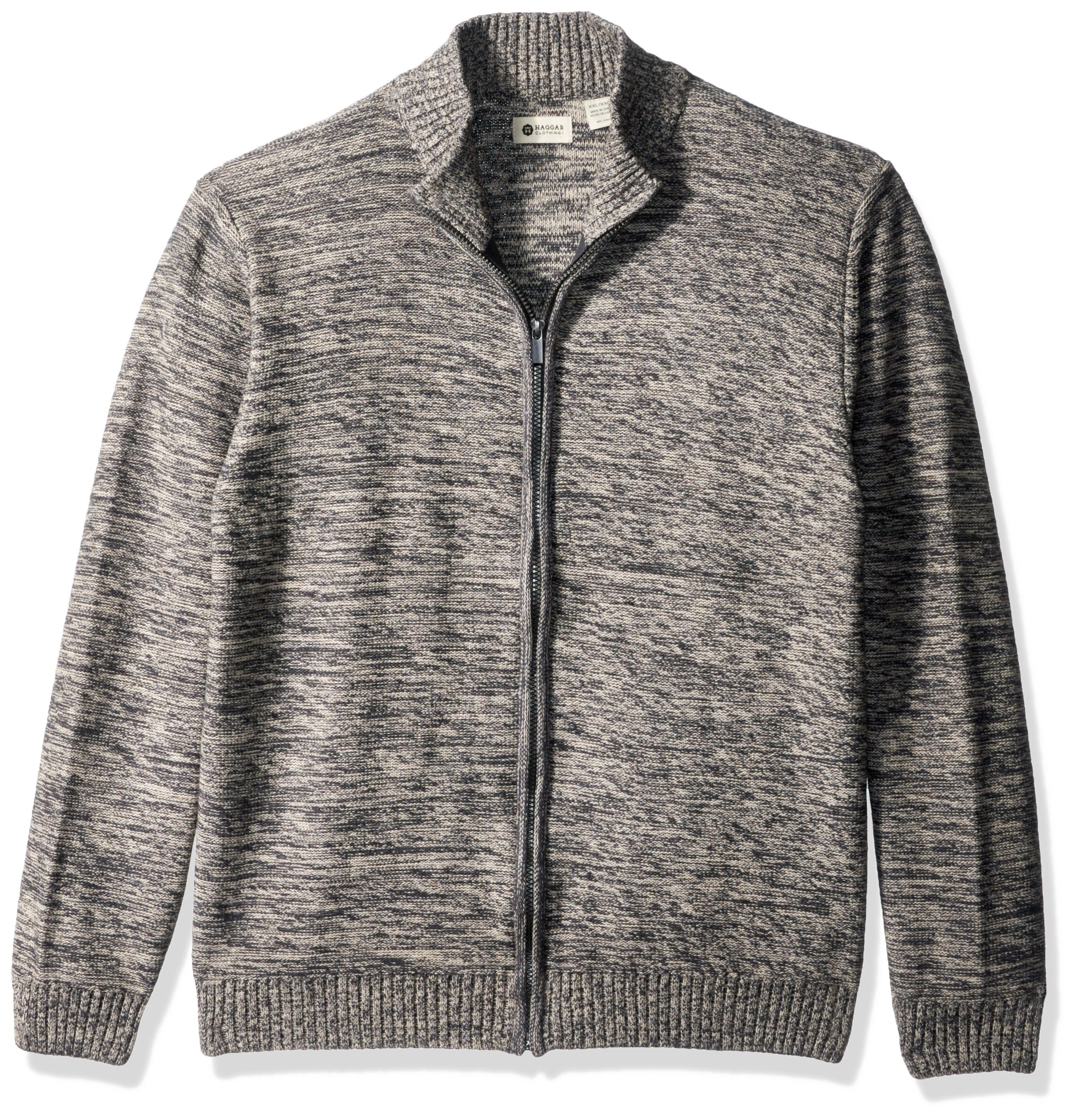 Haggar Men's Reverse Jersey Mechanical Marl Full Zip Sweater, Moon Marl, L