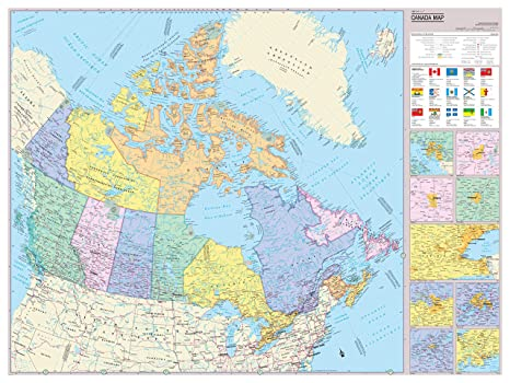 Amazon Com Cool Owl Maps Canada With Flags Wall Map Poster Paper