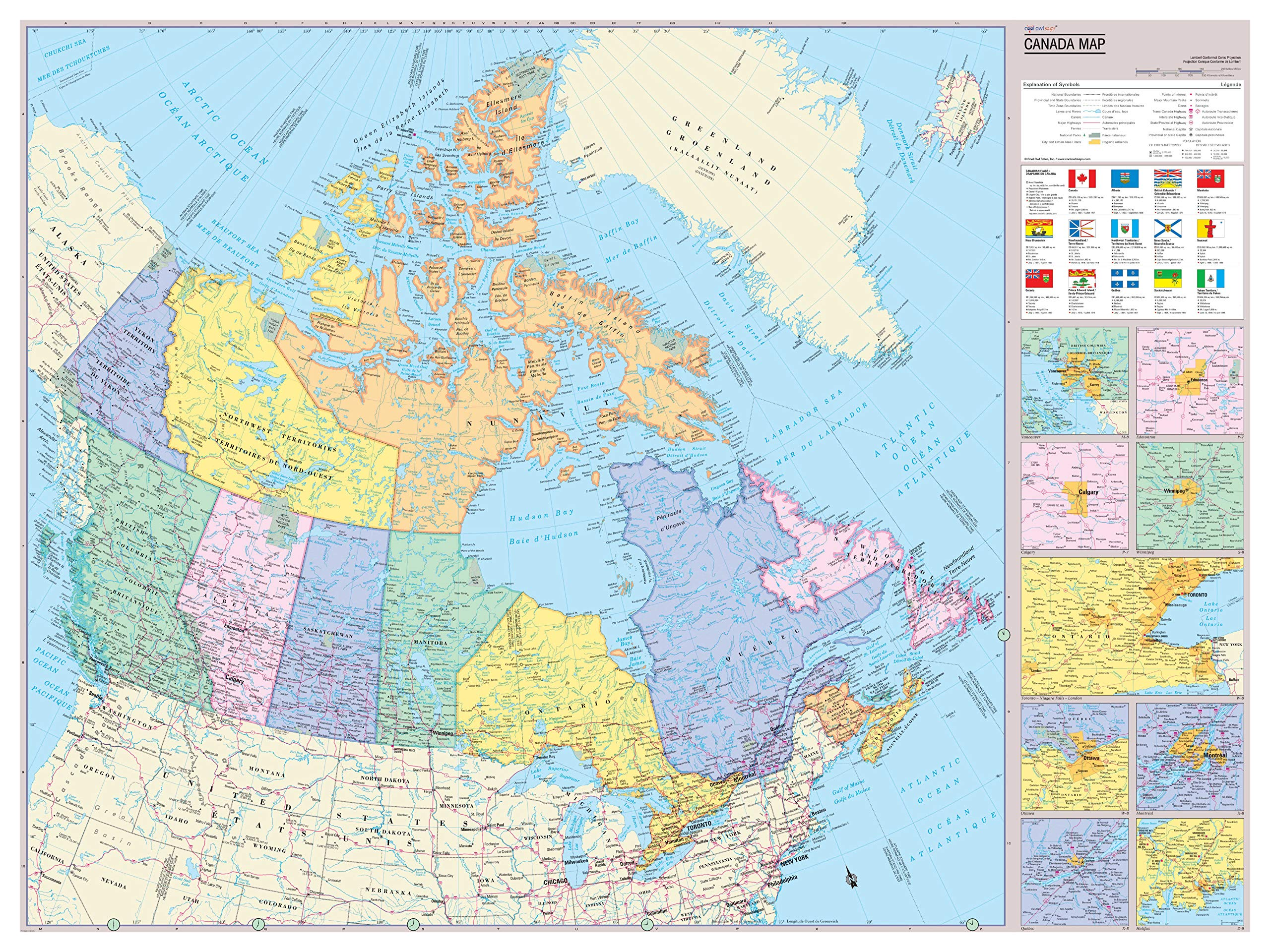 Cool Owl Maps Canada Wall Map Poster (Laminated 32x24)