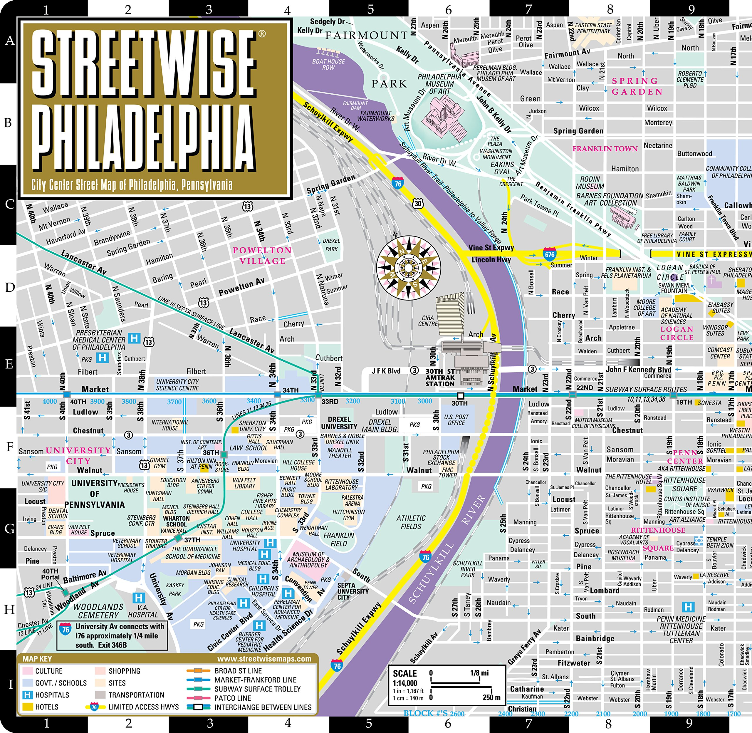 Philadelphia Street Map Streetwise Philadelphia Map   Laminated City Center Street Map of  Philadelphia Street Map