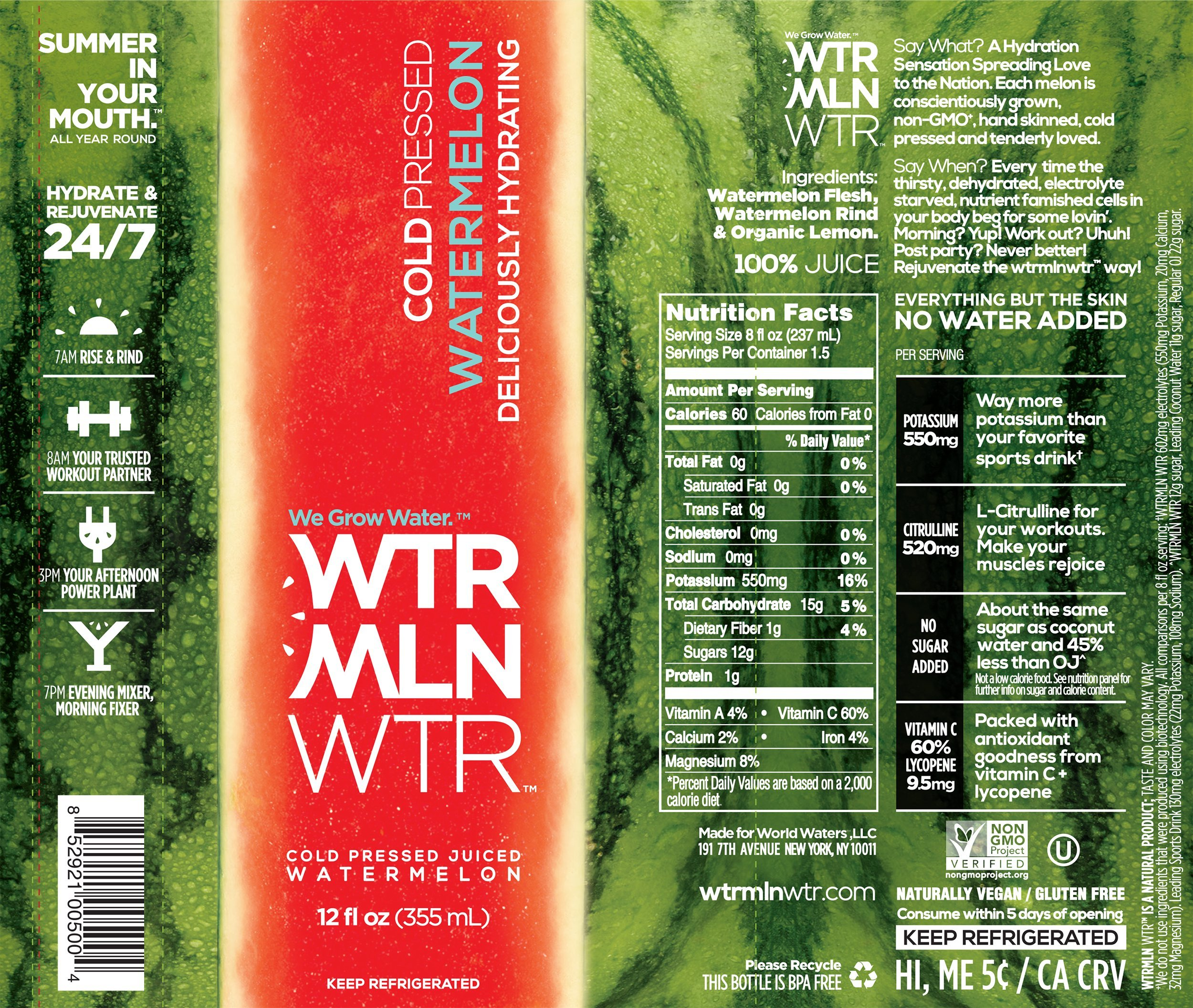 Cold Pressed Watermelon Juice (WTRMLN WTR) - Deliciously Hydrating 100% Fresh Fruit Juice, Pulp-Free, Natural Electrolyte Sports Drink With No Added Sugar or Water, 12 Pack, 12 Ounce Bottles