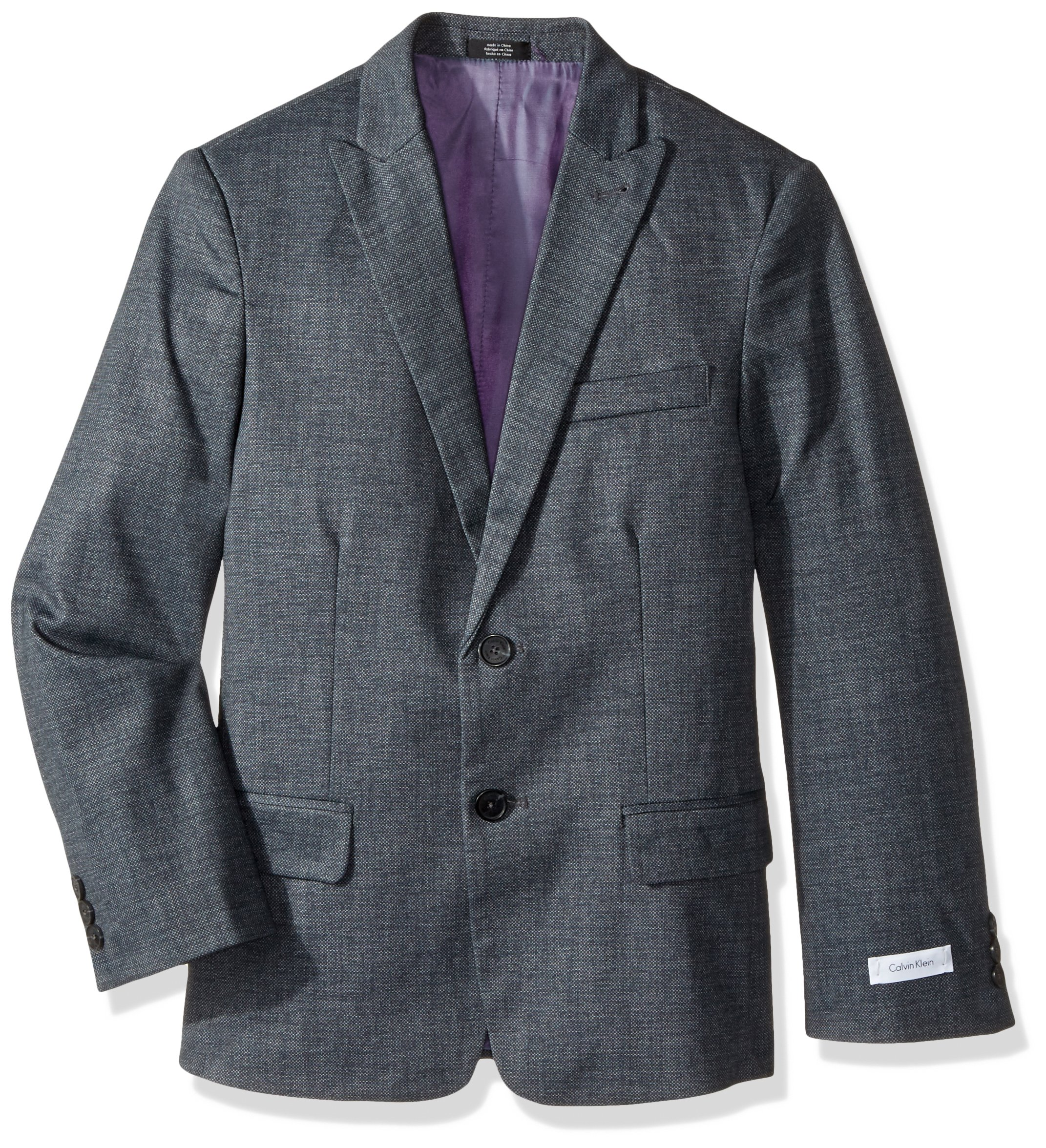 Calvin Klein Big Boys' Patterned Blazer Jacket, Dark Grey Diamond, 18