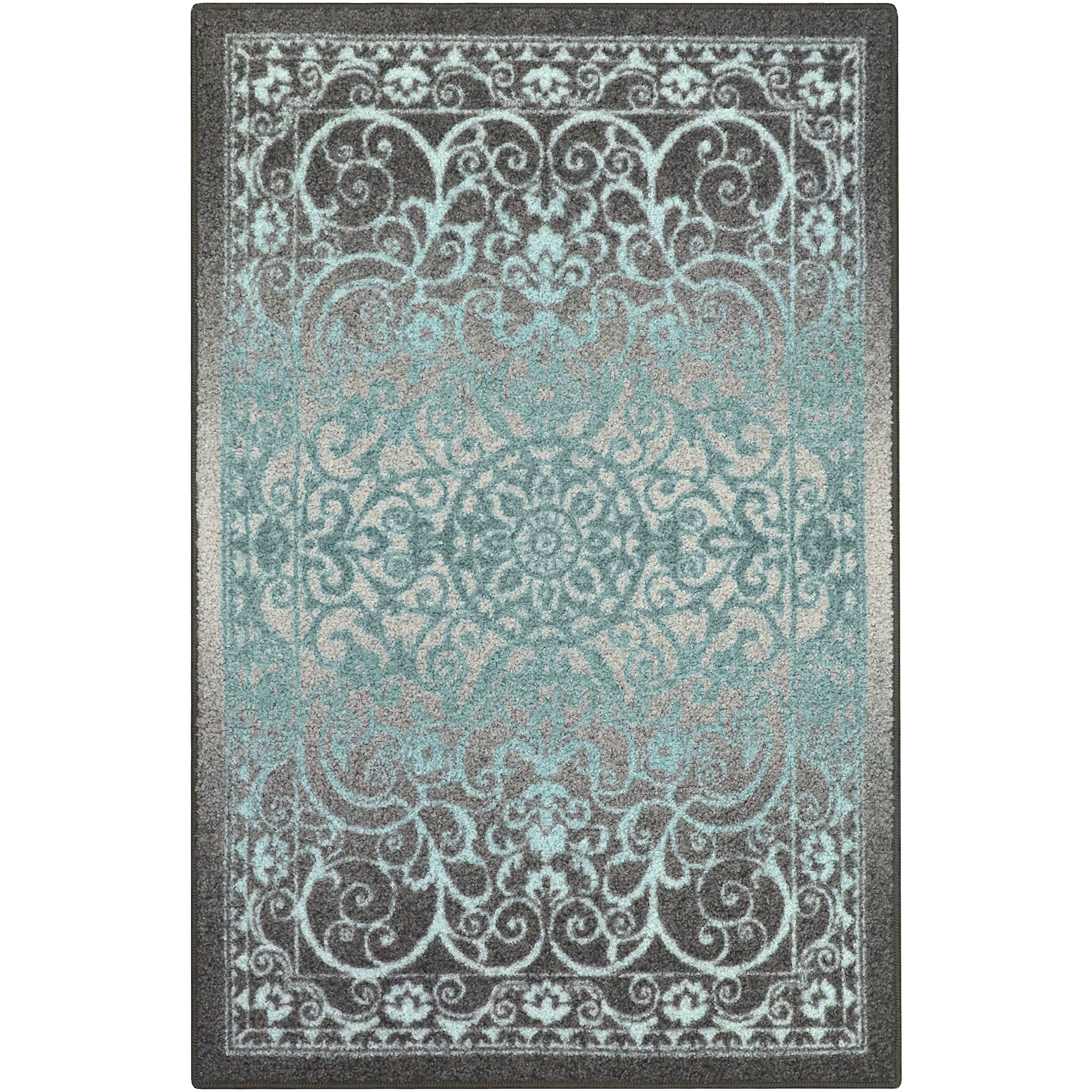 Maples Rugs Pelham 5 x 7 Non Slip Large Area Rugs [Made in USA] for Living, Bedroom, and Dining Room, Grey/Blue