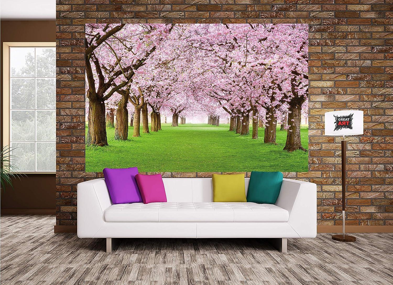 140 x 100 cm Arbre de fleurs de cerisier GREAT ART XXL Affiche D/écoration murale Printemps Nature Paysage Avenue Fleurs de cerisier Sakura Bloom Fleurs de printemps
